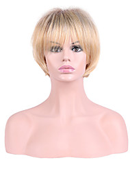 Women Synthetic Wig Capless Short Straight Blonde Layered Haircut Party Wig Natural Wigs Costume Wig