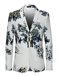 cheap -Men's Daily Plus Size Street chic Punk & Gothic Spring Fall Blazer,Print Notch Lapel Long Sleeve Regular Cotton Polyester Oversized