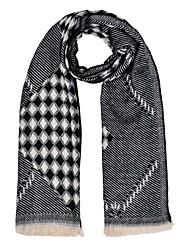 Da donna Primavera/Autunno Inverno Argento Sterling Pelliccia Misto lana Rettangolare,A quadri