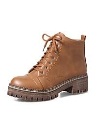 Недорогие -Для женщин Обувь Полиуретан Осень Зима Удобная обувь Ботинки На толстом каблуке Круглый носок Шнуровка Назначение Черный Коричневый Хаки