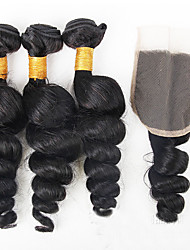 cheap -Brazilian Hair Loose Wave Natural Color Hair Weaves 3 Bundles With  Closure 12-26inch Human Hair Weaves Natural Black