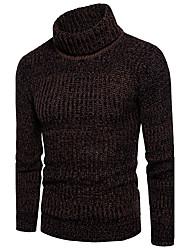 Standard Pullover Da uomo-Per uscire Casual Semplice Romantico Moda città Tinta unita A collo alto Manica lunga Cotone Poliestere Autunno