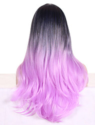 cheap -Women Synthetic Wig Capless Long Wavy Bright Purple Ombre Hair Dark Roots With Bangs Cosplay Wig Costume Wig