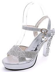 Damen Schuhe PU Frühling Sommer Pumps Komfort Sandalen Blockabsatz Peep Toe Schnalle Für Party & Festivität Kleid Gold Silber