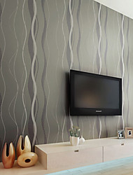 Lines / Waves Wallpaper For Home Modern/Comtemporary Wall Covering , Non-woven paper Material Adhesive required Wallpaper , Room