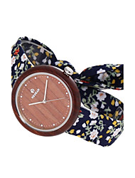 Women's Fashion Watch Wood Watch Japanese Quartz Wooden Fabric Band Charm Casual Elegant Navy