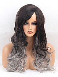 Women Synthetic Wig Capless Long Very Long Wavy Black/Grey Side Part Ombre Hair With Bangs Natural Wigs Costume Wig