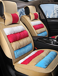 cheap -Rainbow Striped Plush Car Seat Cushion Material Winter Seat Cover Surrounded By AFive Seat-Beige