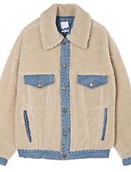Women's Casual/Daily Street chic Fall Jacket,Print Shirt Collar Long Sleeve Regular Cotton