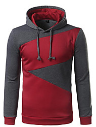 Men's Casual/Daily Hoodie Color Block Hooded Micro-elastic Cotton Long Sleeve Fall