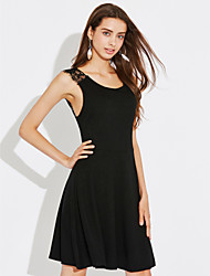 Women's Party Going out Sexy Little Black Dress,Solid Round Neck Mini Sleeveless Polyester Summer Mid Rise Micro-elastic Medium