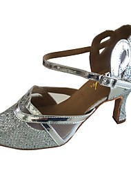 cheap -Women's Sparkling Glitter Faux Suede Sandal Indoor Customized Heel Black Silver