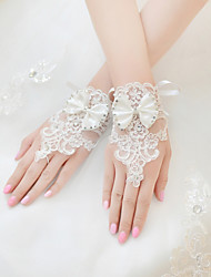 Wrist Length Fingerless Fingertips Glove Lace Tulle Bridal Gloves Summer All Seasons Rhinestone Bow