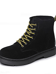 Women's Shoes Flocking Leatherette Fall Winter Combat Boots Boots Flat Heel Round Toe Booties/Ankle Boots Split Joint For Casual Outdoor