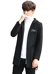 Men's Casual/Daily Work Simple Active Boho Street chic Fall Winter Coat,Solid Print Letter Hooded Long Sleeve Long Wool Acrylic Polyester