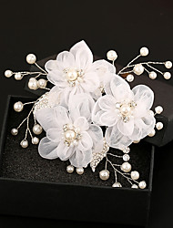 Tulle Imitation Pearl Rhinestone Silk Alloy Hair Combs Flowers Headpiece