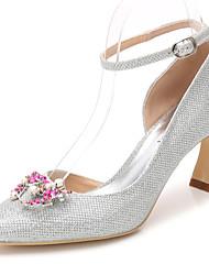 preiswerte -Damen Schuhe Glanz Frühling Herbst Pumps Knöchelriemen Hochzeit Schuhe Stöckelabsatz Spitze Zehe Strass Kristall Glitter Für Hochzeit