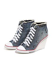Damen Schuhe Denim Jeans Frühling Herbst Cowboystiefel / Westernstiefel High Heels Keilabsatz Runde Zehe Niete Schnürsenkel Für Normal