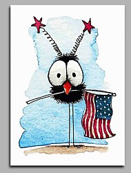 cheap -Hand-Painted Whimsical Vertical, Artistic Active Cartoon Birthday Cool Office/Business Modern/Contemporary New Year's Christmas Canvas