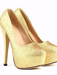 preiswerte -Damen Schuhe PU Sommer Pumps High Heels Stöckelabsatz Runde Zehe für Normal Gold Schwarz Fuchsia Silber