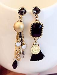 Недорогие -Жен. Синтетический алмаз несовместимый Серьги-слезки Непарные серьги - Мода Черный и золотой Назначение Повседневные Для вечеринок