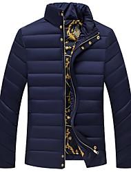 Herren Gefüttert Mantel,Standard Einfach Ausgehen Lässig/Alltäglich Solide-Baumwolle Polypropylen Langarm