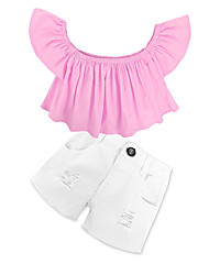 cheap -Girls' Solid Clothing Set, Cotton Spring Summer Short Sleeves Dresswear Blushing Pink