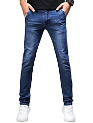 Men's Mid Rise Micro-elastic Jeans Pants,Chinoiserie Simple Straight Slim Solid Print
