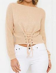 Normal Pullover Femme Décontracté / Quotidien simple,Couleur Pleine Bateau Manches Longues Coton Automne Hiver Moyen Micro-élastique