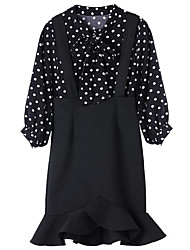 cheap -Women's Going out Holiday Street chic Blouse - Polka Dot Skirt V Neck