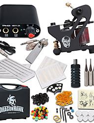 billige -Tattoo Machine Starter Sæt 1 x legering tattoo maskine til foring og skygge Mini strømforsyning 1 x Aluminumsgreb 10 Stk. Tatoveringsnåle