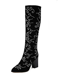 Women's Shoes Leather Winter Novelty Fashion Boots Boots Chunky Heel Round Toe Knee High Boots For Wedding Party & Evening Black