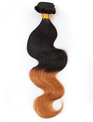 abordables -Cheveux Brésiliens Ondulation naturelle Cheveux Vierges A Ombre Tissages de cheveux humains Noir / Medium Auburn