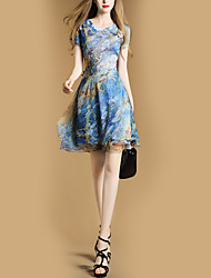 Women's Party Holiday Going out Casual/Daily Club Vintage Street chic Sheath Dress,Floral Stand Above Knee Short Sleeves Polyester All