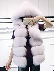 Women's Daily Sophisticated Winter Fall Fur Coat,Solid Hooded Sleeveless Regular Fox Fur