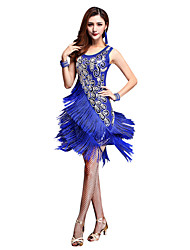 cheap -Latin Dance Dresses Women's Performance Nylon / Chinlon Tassel Sleeveless High Dress