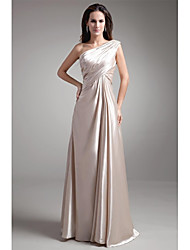 cheap -A-Line One Shoulder Floor Length Stretch Satin Prom / Formal Evening Dress with Beading Pleats by LAN TING Express