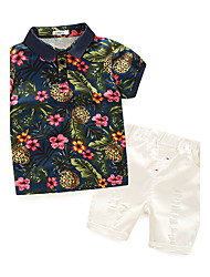 cheap -Boys' Floral Clothing Set,Cotton Summer Short Sleeve Floral Navy Blue