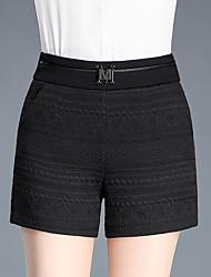 Women's High Rise Inelastic Shorts Pants,Simple Slim Solid