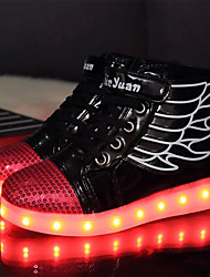 cheap -Boys' Sneakers Light Up Shoes Comfort Novelty Fall Winter PU Casual Outdoor Magic Tape Lace-up Flat Heel Black White Flat