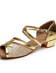 Недорогие -Для женщин Латина Дерматин На каблуках Для начинающих На низком каблуке Золотой Серебряный Персонализируемая