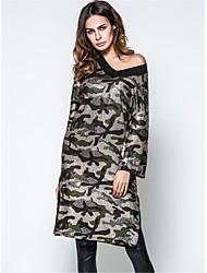 Damen Etuikleid Tunika Kleid-Ausgehen Lässig/Alltäglich Einfach camuflaje V-Ausschnitt S 60-70 cm M 70-80 cm 3/4 Ärmel Baumwolle Frühling