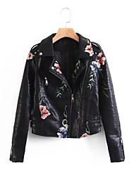 Women's Casual/Daily Simple Spring Fall Leather Jacket,Solid Shirt Collar Long Sleeve Regular PU Others Embroidered