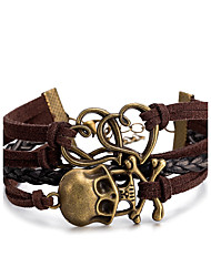 cheap -Men's Women's Leather Bracelet Wrap Bracelet Jewelry Multi Layer Punk Leather Alloy Skull Jewelry Daily Casual Stage Office & Career