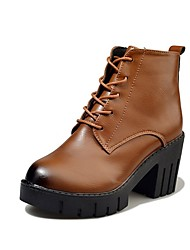 Women's Shoes PU Fall Combat Boots Boots Chunky Heel Round Toe Lace-up For Dress Dark Brown Black