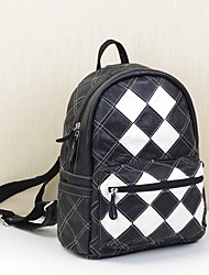 Women Bags All Seasons Cowhide Backpack Pockets for Casual Formal Black/White