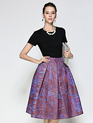 cheap -Women's Going out Midi Skirts,Vintage A Line Print Summer