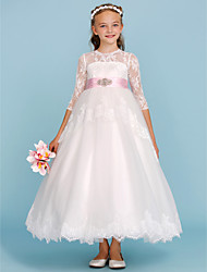 Ball Gown Crew Neck Ankle Length Lace Tulle Junior Bridesmaid Dress with Beading Bow(s) Sash / Ribbon by LAN TING BRIDE®