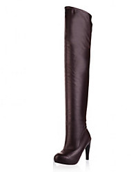 Women's Shoes PU Fall Winter Comfort Novelty Fashion Boots Boots Stiletto Heel Pointed Toe Thigh-high Boots For Office & Career Dress