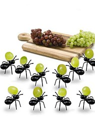 economico -12pcs mini formica frutta forchetta di plastica eco friendly forchette da tavola nero